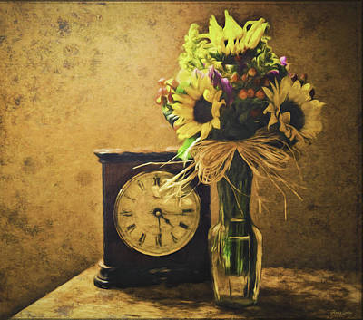 Photograph - Sunflowers Floral Still Life 3 by Anna Louise