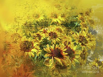 Digital Art - Sunflowers For Sandra by Deborah Nakano