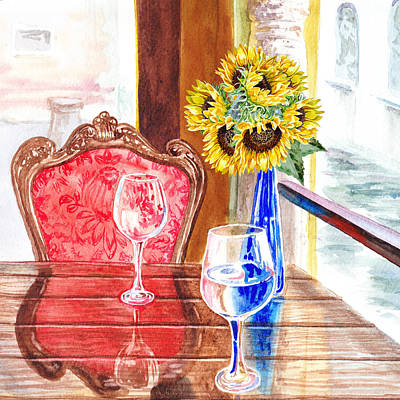 Glass Table Reflection Painting - Sunflowers For Two by Irina Sztukowski