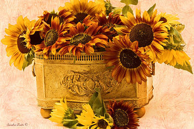 Sunflowers Galore Art Print by Sandra Foster