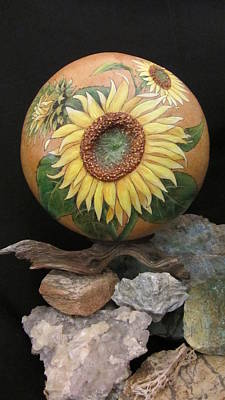 Pyrography - Sunflowers Gn41 by Barbara Prestridge