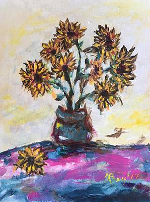 Yellow Painting - Sunflowers In A Blue Pot by Roxy Rich