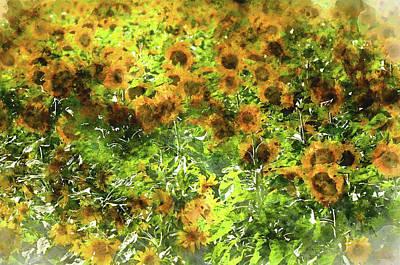 Grow Digital Art - Sunflowers In A Field by Brandon Bourdages
