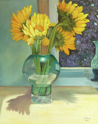 Painting - Sunflowers In A Glass Vase Number Three by Marlene Book