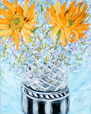 Painting - Sunflowers In A Vase. Painting by Oksana Semenchenko