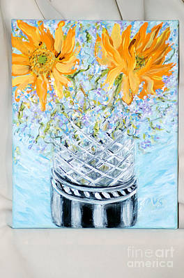 Painting - Sunflowers In A Vase. Painting For Sale by Oksana Semenchenko