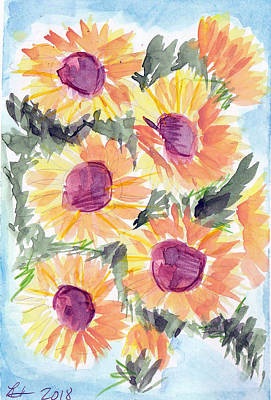 Painting - Sunflowers In Blue by Loretta Nash