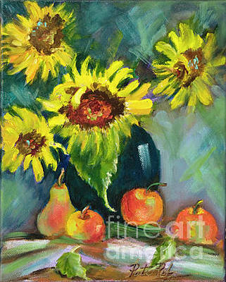 Painting - Sunflowers In Blue Pot by Pati Pelz