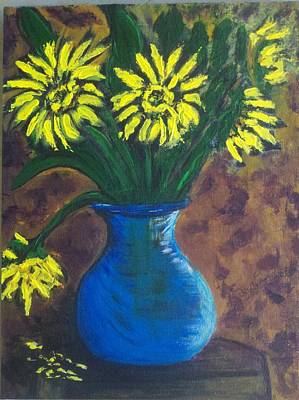 Painting - Sunflowers In Blue Vase by Rosemary Augustine