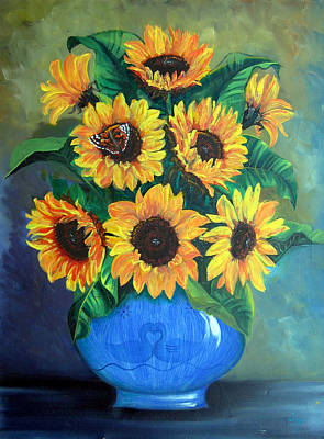 Painting - Sunflowers In Blue Vase by Sarah Hornsby