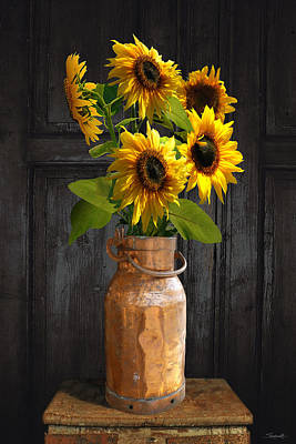 Digital Art - Sunflowers In Copper Milk Can by M Spadecaller