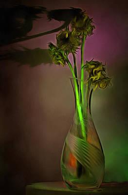 Digital Art - Sunflowers In Crystal Vase by Viktor Savchenko