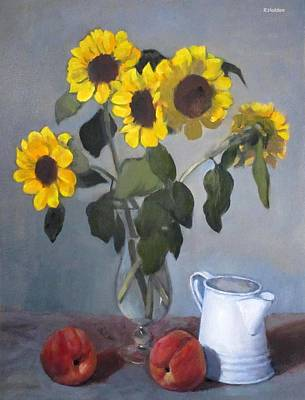 Painting - Sunflowers In Glass Vase With Peaches by Robert Holden