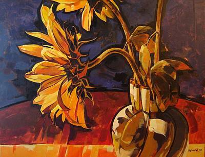Tim Painting - Sunflowers In Italian Vase Take Two by Tim  Heimdal