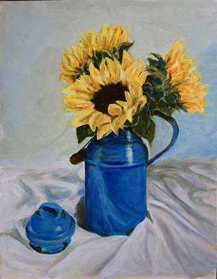 Milk Can Painting - Sunflowers In Milkcan by Sandra Nardone