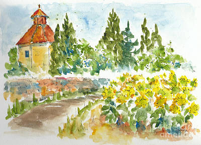 Sunflowers In Provence Art Print by Pat Katz