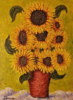 All You Need Is Love - Sunflowers in red pot by Frank Morrison