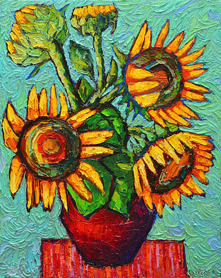 Painting - Sunflowers In Red Vase Original Oil Painting by Ana Maria Edulescu