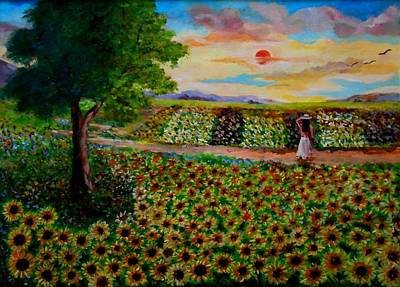Painting - Sunflowers In Sunset by Konstantinos Charalampopoulos