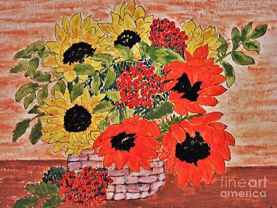 Painting - Sunflowers In The Basket by Jasna Gopic