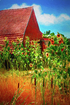 Photograph - Sunflowers In The Countryside Painting by Debra and Dave Vanderlaan