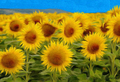 Jeff Kolker Painting - Sunflowers In The Field by Jeffrey Kolker