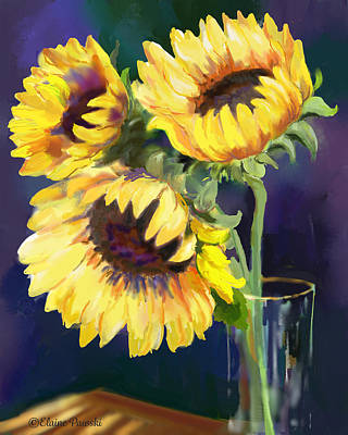 Painting - Sunflowers In The Light by Elaine Pawski