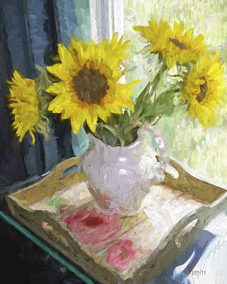 Photograph - Sunflowers In The Window - Floral - Flowers In Vase by Rebecca Korpita