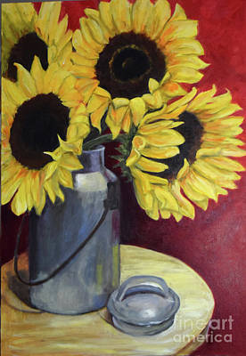 Painting - Sunflowers In Tin Milkcan by Sandra Nardone