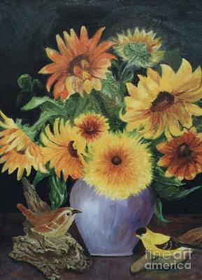 Metallic Sheets Painting - Sunflowers In Vase by Dorothy Weichenthal