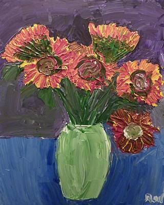 Painting - Sunflowers In Vase by Joshua Redman