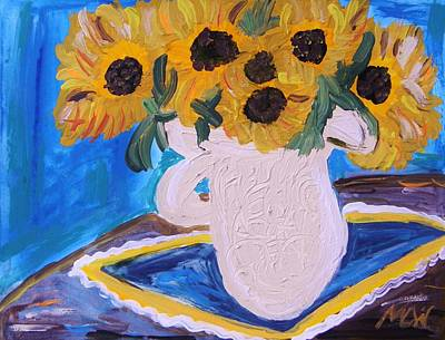 Simplicity Drawing - Sunflowers Ironstone And Lace by Mary Carol Williams
