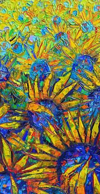 Painting - Sunflowers Joy Modern Impressionist Abstract Impasto Palette Knife Oil Painting Ana Maria Edulescu by Ana Maria Edulescu