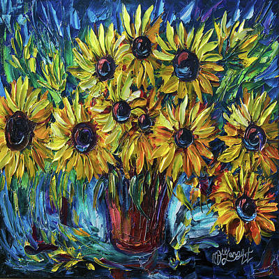 Painting - Sunflowers In A Vase Palette Knife Painting by OLena Art Brand