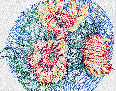 Sharpie Drawing - Sunflowers by Leslie Genser