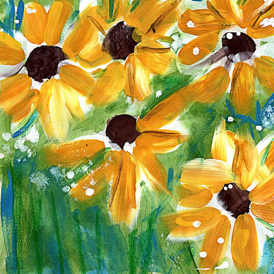 Big Mixed Media - Sunflowers by Linda Woods