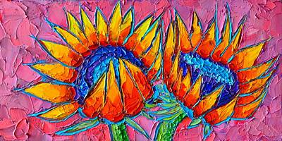 Tuscan Sunflowers Painting - Sunflowers Love - Modern Colorful Floral Original Palette Knife Oil Painting By Ana Maria Edulescu by Ana Maria Edulescu