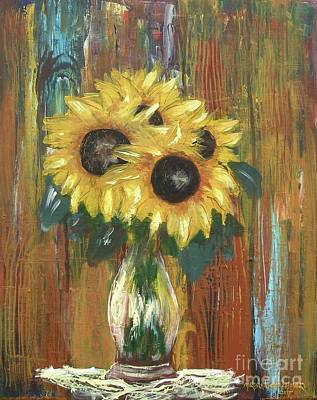 Painting - Sunflowers by Miroslaw  Chelchowski