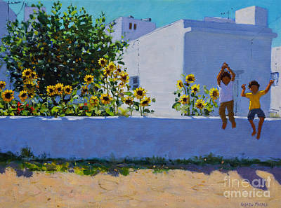 A Sunny Morning Painting - Sunflowers, Morning, Galicia by Andrew Macara