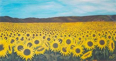 Painting - Sunflowers Near Arles by Gunter  Tanzerel