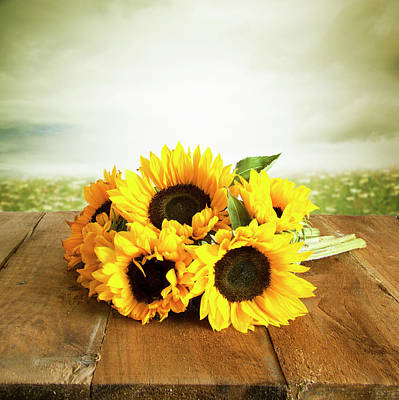 Photograph - Sunflowers On A Table by Ethiriel Photography