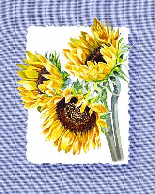Painting - Sunflowers On Baby Blue by Irina Sztukowski