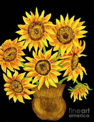 Painting - Sunflowers On Black, Painting by Irina Afonskaya
