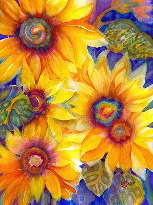 Painting - Sunflowers On Blue II by Ann Nicholson
