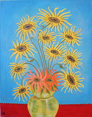 Painting - Sunflowers On Blue by Marie Schwarzer