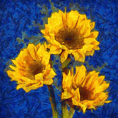 Photograph - Sunflowers On Blue - Van Gogh Style by Betty Denise