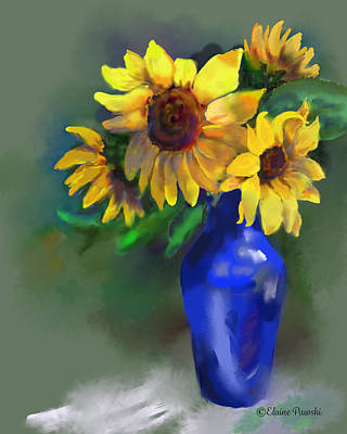 Painting - Sunflowers On Green by Elaine Pawski