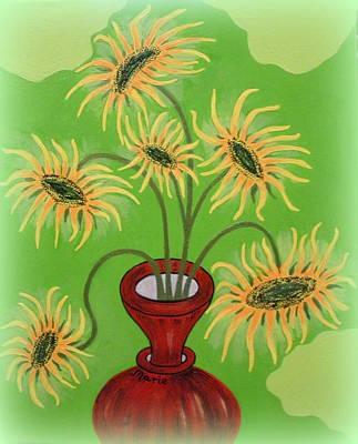 Painting - Sunflowers On Green by Marie Schwarzer