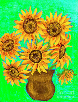Painting - Sunflowers On Green, Painting by Irina Afonskaya