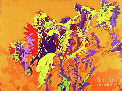Wall Art - Painting - Sunflowers On Orange. by Anatoli Titarenko